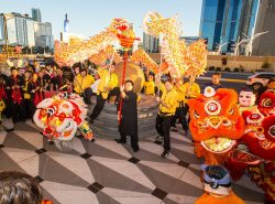 Lucky Dragon Hotel & Casino Grand Opening -The dragon and lion dance