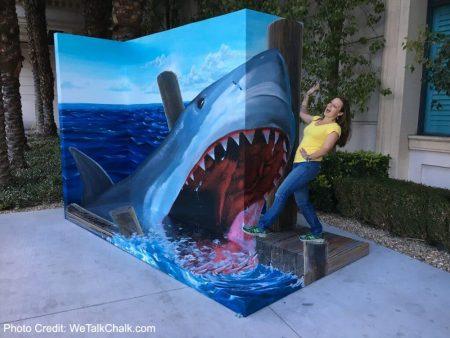 3d street painting shark