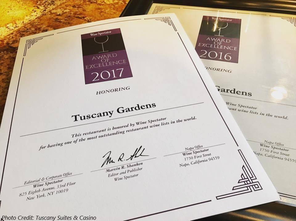 Tuscany Gardens In Las Vegas Awarded Wine Spectator Award