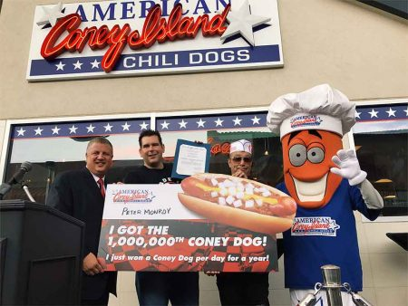 The Millionth Coney Dog Sold By American Coney Island At The D