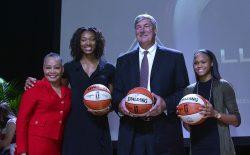 Lisa Borders, Kayla Alexander, Bill Laimbeer, Moriah Jefferson at WNBA & MGM Resorts Press Event