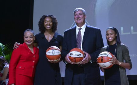 Lisa Borders, Kayla Alexander, Bill Laimbeer, Moriah Jefferson at WNBA & MGM Resorts Press Event